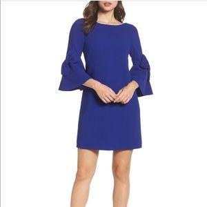 Eliza J. bell sleeve shift dress in cobalt blue